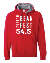Load image into Gallery viewer, Gildan Sweater with Zurich Bean Festival graphic in red/grey