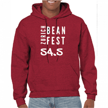Load image into Gallery viewer, Gildan Sweater with Zurich Bean Festival graphic in antique cherry red