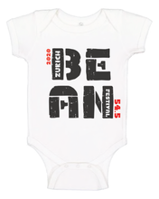 "Load image into Gallery viewer, White Bean Fest Baby Onesie , with ""2020, Bean Festival, Zurich 54.5"" printed on it in black and red letters"