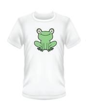 Load image into Gallery viewer, Youth Bean Festival white t-shirts, green frog logo