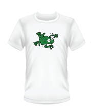 Load image into Gallery viewer, Youth Bean Festival white t-shirts, swimming green frog logo