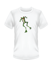 Load image into Gallery viewer, Youth Bean Festival white t-shirts, jumping green frog logo