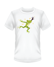 Load image into Gallery viewer, Youth Bean Festival white t-shirts, dancing green frog logo