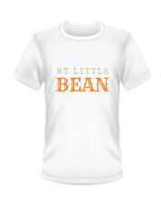 "Load image into Gallery viewer, Youth Bean Festival white t-shirts, ""my little bean"" logo"