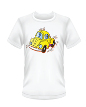 Load image into Gallery viewer, Youth Bean Festival white t-shirts, yellow car logo