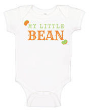 "Load image into Gallery viewer, White Bean Fest Baby Onesie , with ""my little bean"" written in orange and green letters"