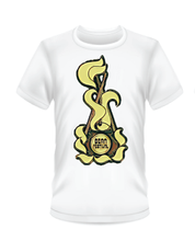 Load image into Gallery viewer, Gildan Soft Style white t-shirt with yellow and brown Bean Festival design