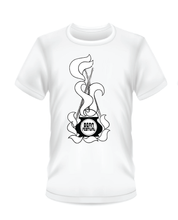 Load image into Gallery viewer, Gildan Soft Style white t-shirt with black and white Bean Festival design