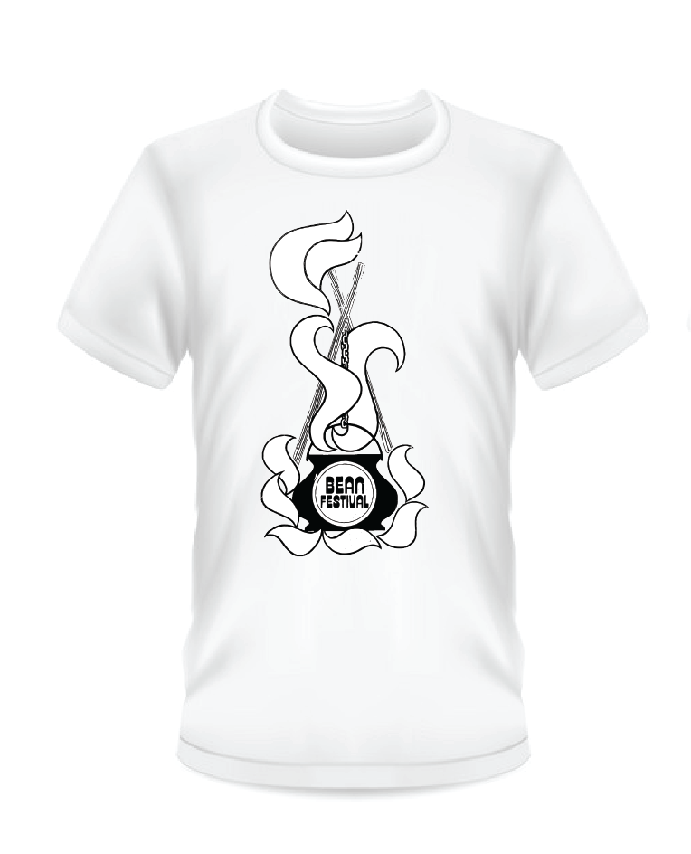 Gildan Soft Style white t-shirt with black and white Bean Festival design