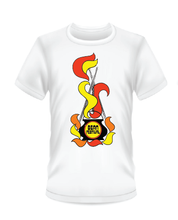 Load image into Gallery viewer, Gildan Soft Style white t-shirt with red and yellow Bean Festival design