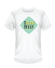 Load image into Gallery viewer, Gildan Soft Style white t-shirt Bean Festival design, black, turquoise and yellow logo