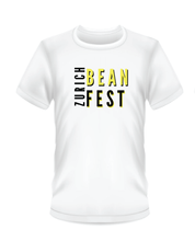 Load image into Gallery viewer, Gildan Soft Style white t-shirt Bean Festival design, black and yellow logo