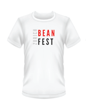 Load image into Gallery viewer, Gildan Soft Style white t-shirt Bean Festival design, red, black  and white logo