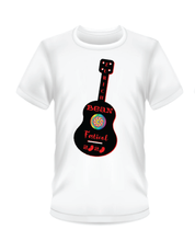 Load image into Gallery viewer, Gildan Soft Style white t-shirt Bean Festival design, black and red guitar logo