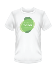 Load image into Gallery viewer, Gildan Soft Style white t-shirt Bean Festival design, green and white logo