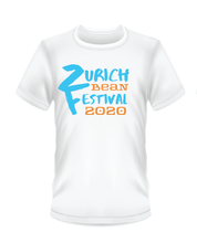 Load image into Gallery viewer, Gildan Soft Style white t-shirt Bean Festival design, blue and orange logo