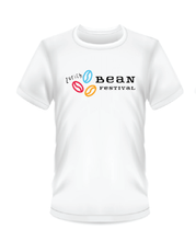 Load image into Gallery viewer, Gildan Soft Style white t-shirt Bean Festival design, coloured coffee bean logo