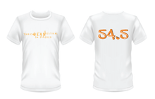 Load image into Gallery viewer, Gildan Soft Style white t-shirt Bean Festival design, orange logo
