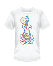 Load image into Gallery viewer, Gildan Soft Style white t-shirt with rainbow Bean Festival design