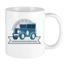 Load image into Gallery viewer, Bean Festival Mug, blue car logo