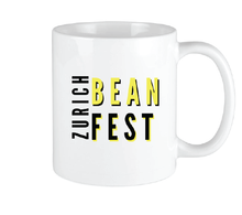Load image into Gallery viewer, Bean Festival Mug, yellow and black logo