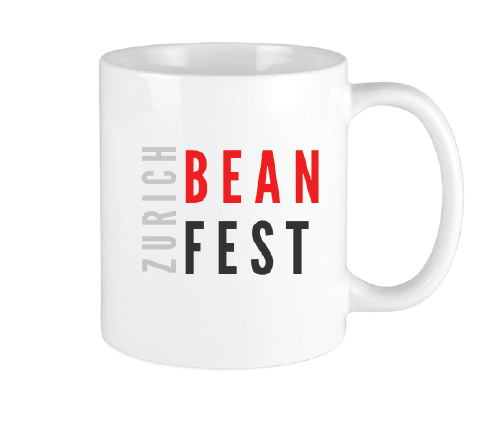 Bean Festival Mug, red and black logo