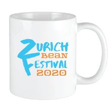 Load image into Gallery viewer, Bean Festival Mug, blue and orange logo