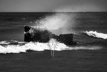 Load image into Gallery viewer, black and white photo of waves crashing into a rock