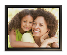 "Load image into Gallery viewer, 11"" x 14"" Canvas Print with Floater Frame of a mother and a daughter smiling (landscape)"