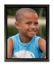 "Load image into Gallery viewer, 11"" x 14"" Canvas Print with Floater Frame of a little boy smiling (portrait)"