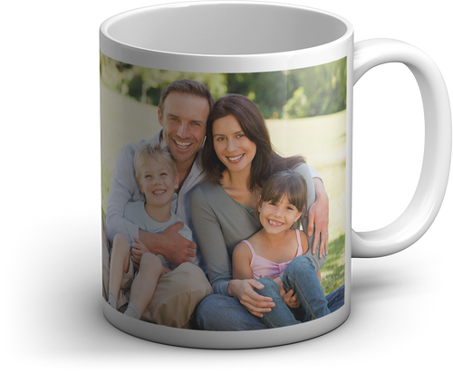 Personalized 11oz White Mug, with a custom photo of a family picture , the mom, dad , son and daughter are all smiling