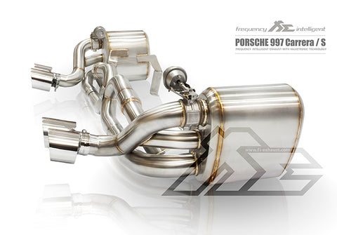 FI Exhaust Porsche 997.1 Carrera/S Mid X Pipe + Valvetronic Mufflers + Quad Tips