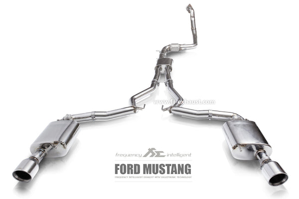 FI Exhaust Ford Mustang Ecoboost Front Pipe + Mid Pipe + Valvetronic Mufflers + Dual Tips