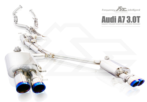FI Exhaust Audi A7 3.0T Sportback Front Pipe + Mid X Pipe + Rear Mufflers + Quad Tips