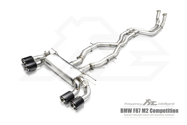 FI Exhaust BMW M2 Competition F87N Front Pipe + Mid X Pipe + Valvetronic Mufflers + Quad Tips
