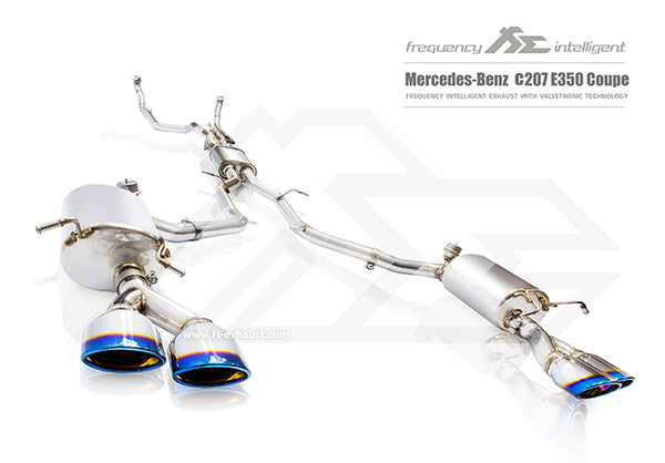 FI Exhaust Mercedes-Benz E350 Coupe Mid X Pipe + Valvetronic Mufflers + Quad Tips