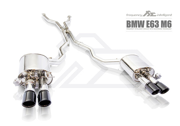 FI Exhaust BMW M6 E63/E64 Front Pipe + Mid X Pipe + Valvetronic Mufflers + Quad Tips