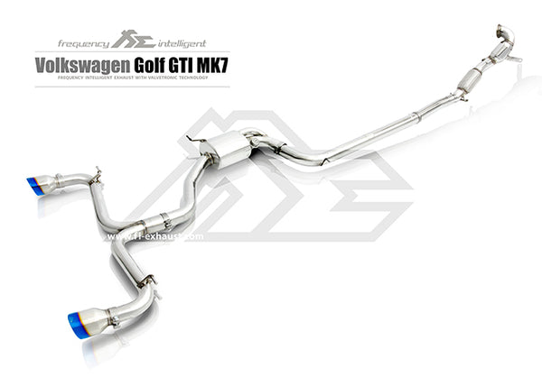 FI Exhaust VW Golf GTI MK7 Front Pipe + Rear Pipe + Mid Valvetronic Mufflers + Dual Tips