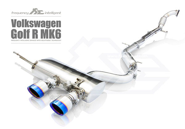 FI Exhaust VW Golf R20 MK6 Rear Pipe + Mid Valvetronic Mufflers + Dual Tips