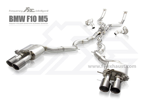 FI Exhaust BMW M5 F10 Front Pipe + Mid Pipe + Valvetronic Mufflers + Quad Tips