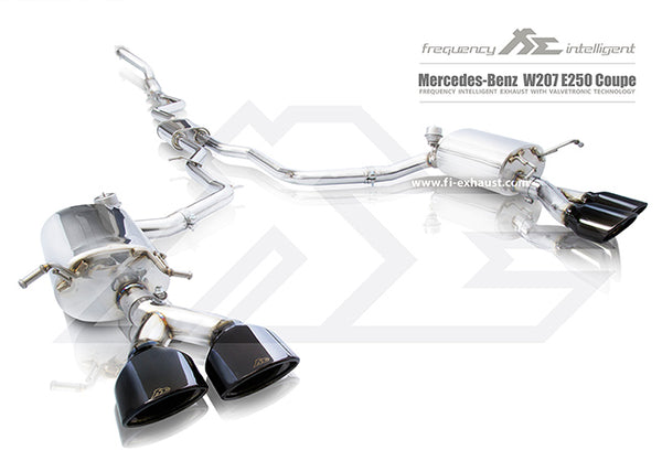 FI Exhaust Mercedes-Benz E250 Coupe Front Pipe + Mid Y Pipe + Valvetronic Mufflers + Quad Tips (modification required)
