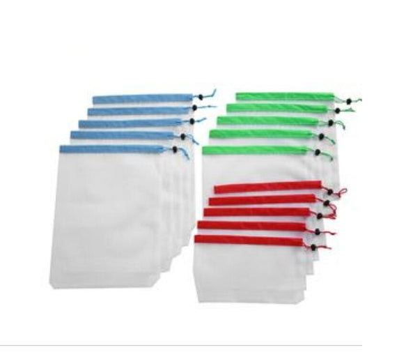 Reusable Fruit&Vegetable Bags for Grocery Washable Mesh Eco Storage - TcMarketShop