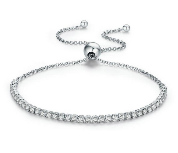 Women's 925 Sterling Silver Bracelet Adjustable Jewellery Charm Cubic Zirconia - TcMarketShop