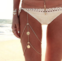 Women's Body Multi-layer Tassel Thigh Leg Chain Retro Jewelry Coins Bikini Wear - TcMarketShop