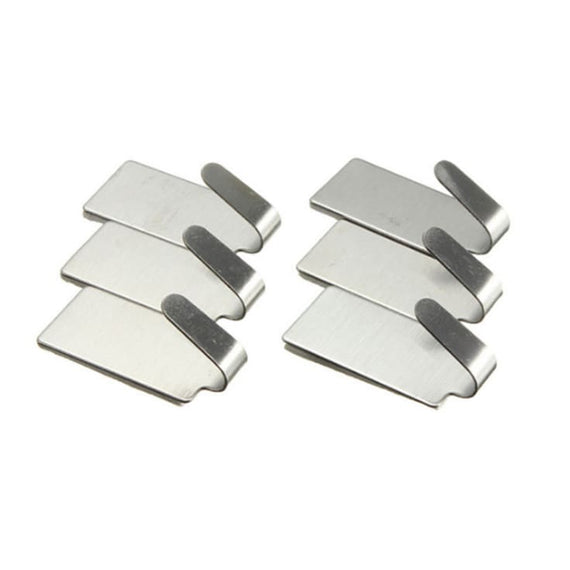 6Pcs Self-Adhesive Parts Household Kitchen Wall Door Stainless Steel Hook Hanger - TcMarketShop