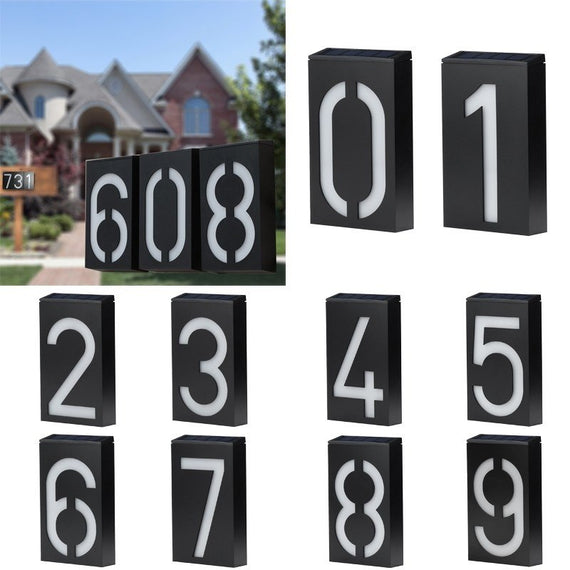 Solar Power House Sign Numbers Plates  6 Led Light Door Address Digits - TcMarketShop