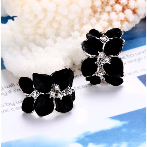 Black Rose Flower Jewelry Set Earrings Necklace Ring -3 Piece Accessory