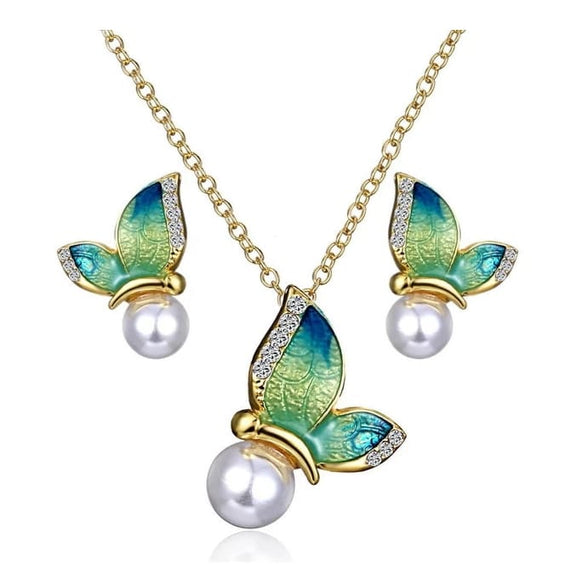 Butterfly Pearl Stud Earrings & Necklace Set