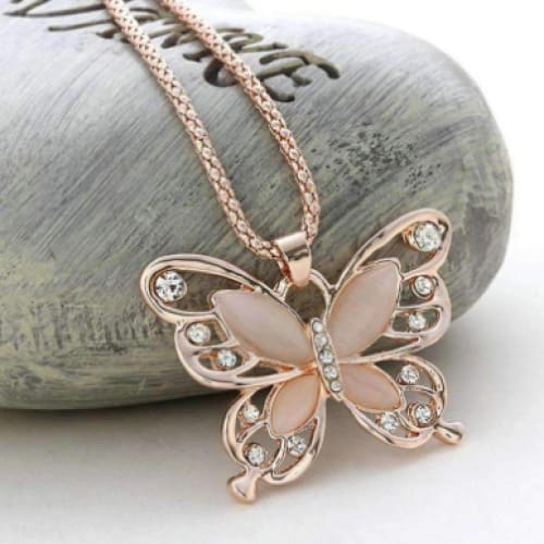 Butterfly Spirit Necklace Rose Gold Fashion Charm