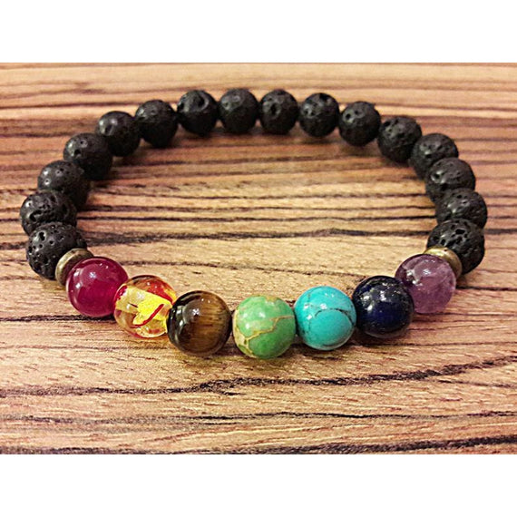 Chakra Bracelet 7 Colorful Lava Heal Agate Beaded